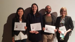 Three-minute thesis faculty final winner, PhD. student Zoe Marks (second from left) with Monash University finalists.