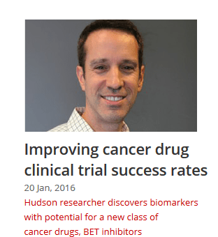 Hudson researchers findings may improve cancer drug clinical trial success rates