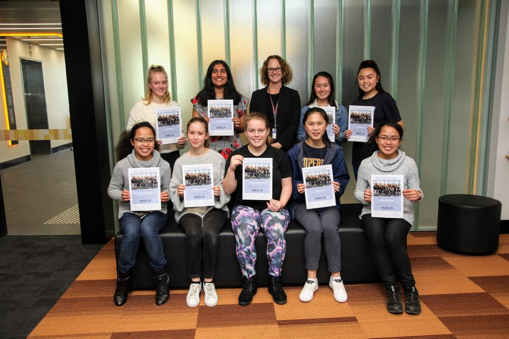 The 2019 Hudson Institute Young Women in Science program attendees with Prof Hartland