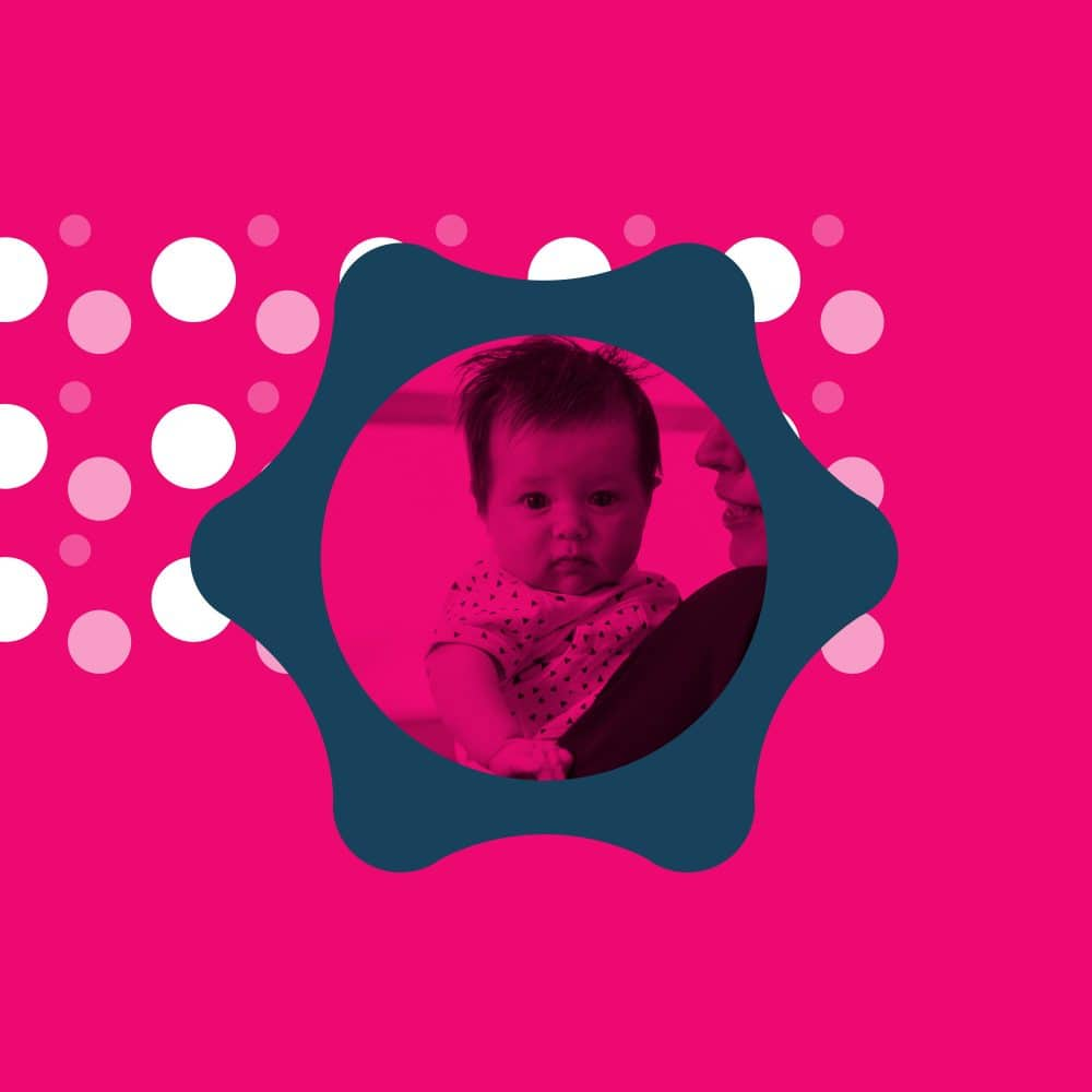 Baby on pink background