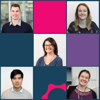 Three minute thesis winners Ben Amberg, Ellen Jarred, Penny Whiley, Quinton Luong, Madeleine Wemyss highlighted in a cubic image