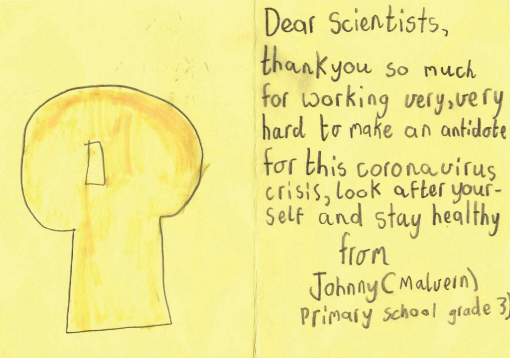 Pandemic Thank you letter, Gratitude Project from primary school student thanking scientist during Covid-19