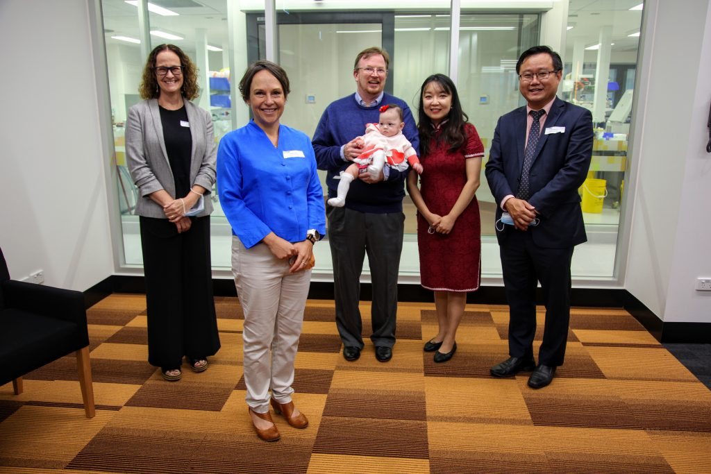Jaala Pulford MP tours Hudson Institute with Director Prof Elizabeth Hartland and former Monash Health inflammation patient, baby Willow O'Brien.