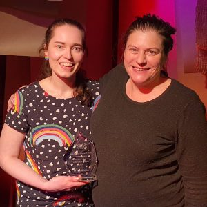 L–R: Dr Erin McGillick pictured with Co-founder and Director of QueersInScience, Dr Sarah Stephenson